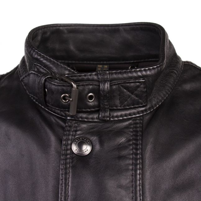 Mens Black Trialmaster Panther Lambskin Leather Jacket