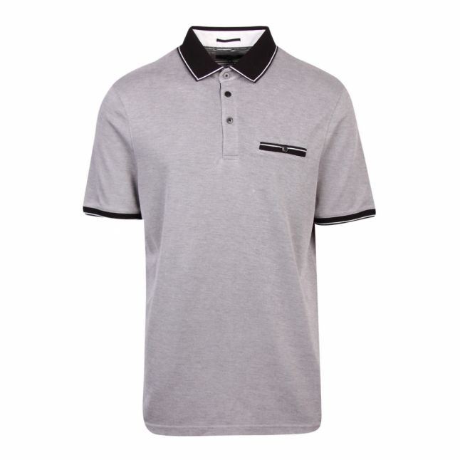 Mens Black Mightie Flat Knit Collar S/s Polo Shirt
