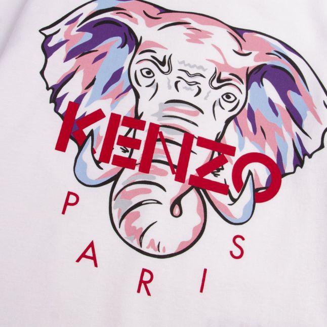 Kenzo Girls White Karina Bis Elephant L/s T Shirt
