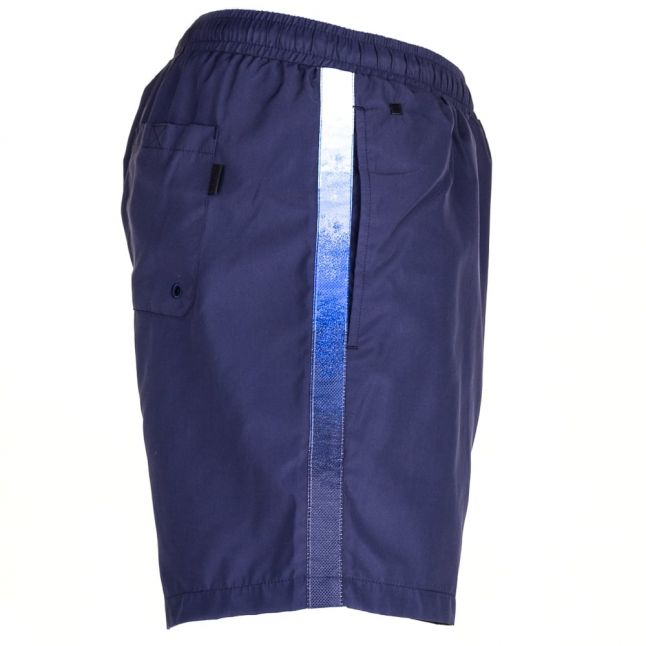 Mens Navy Seabream Taped Logo Swim Shorts