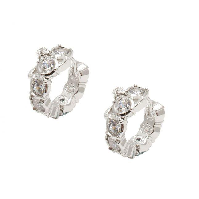 Womens Silver/White Marceline Hoop Earrings
