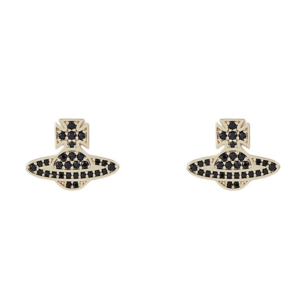 Womens Black Cubic Zirconia/Gold Romina Pave Orb Earrings