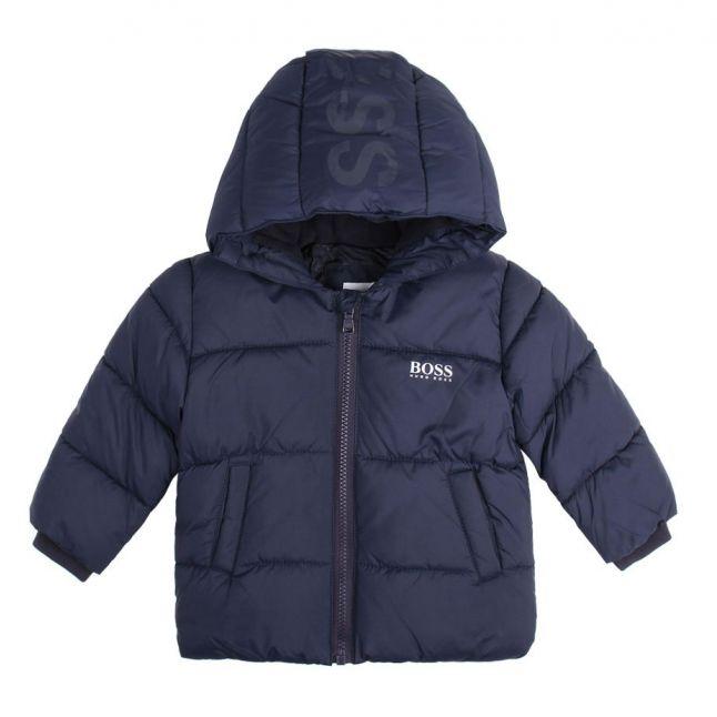 Toddler Navy Logo Hooded Padded Jacket