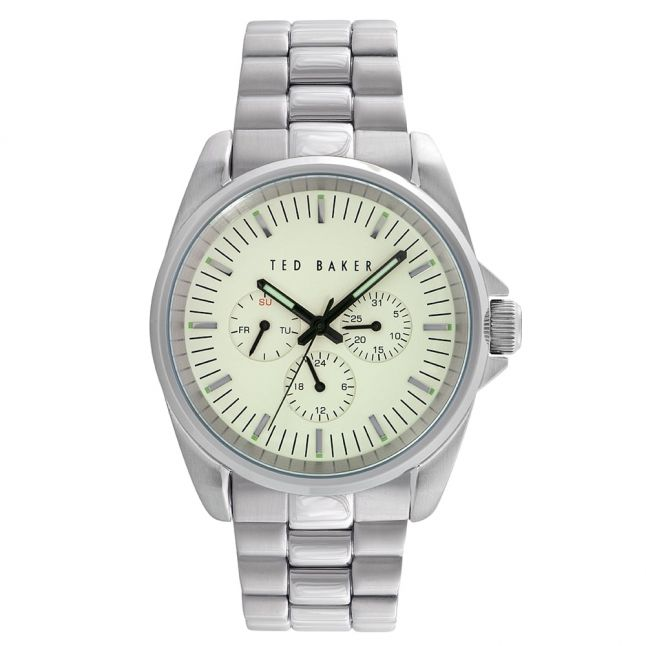 Mens Off White Dial Silver Multifunctional Bracelet Strap Watch