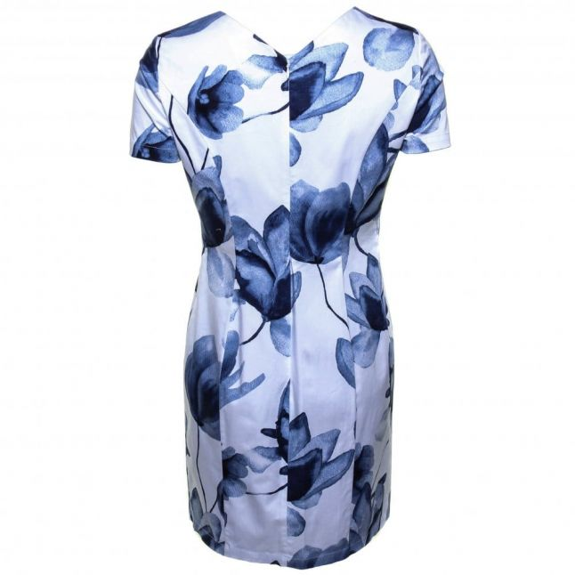 Womens White & Blue Floral Fitted Dress