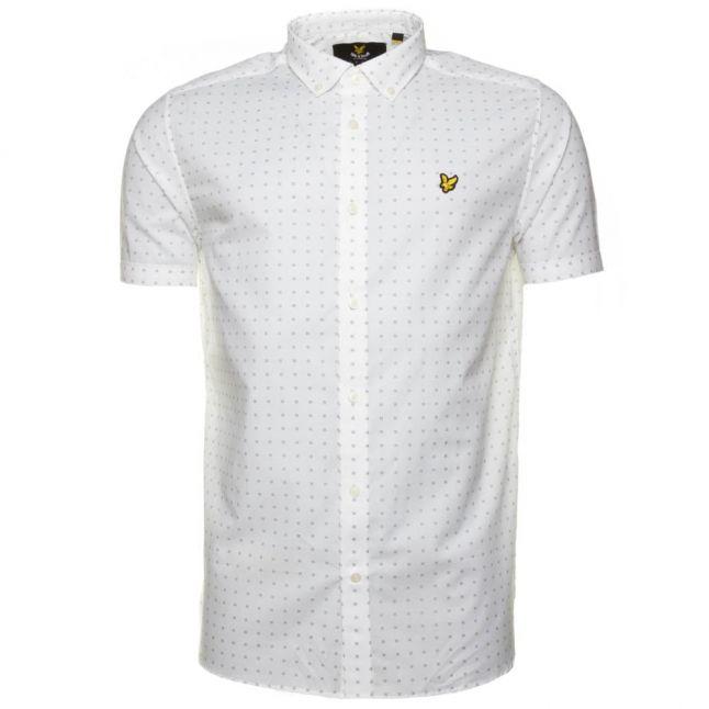 Mens White Square Dot Print S/s Shirt