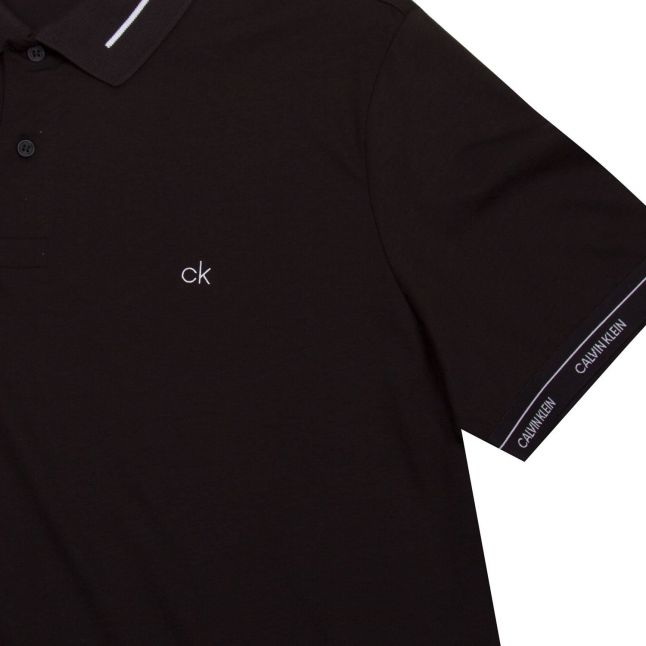 Calvin Klein Mens Black Liquid Touch Logo Cuff S/s Polo Shirt