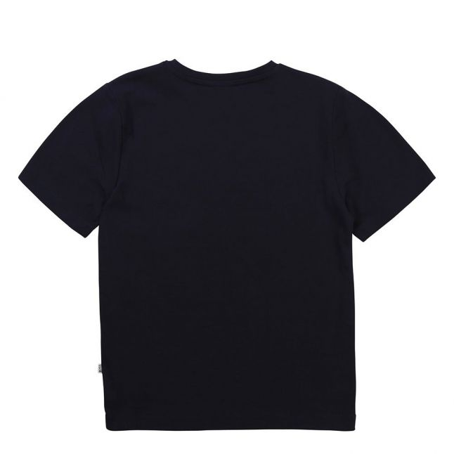 Boys Navy Branded Chest Line S/s T Shirt