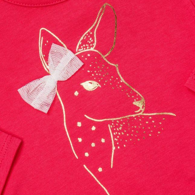 Baby Pink Deer Bow L/s Tee Shirt