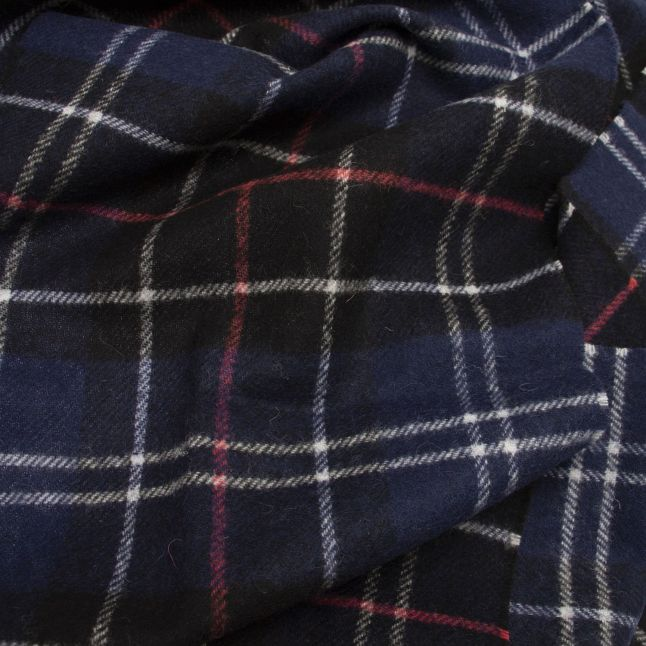 Navy/Red Tartan Lambswool Scarf