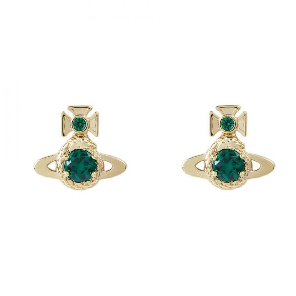 Womens Emerald Gold Ouroboros Small Earrings