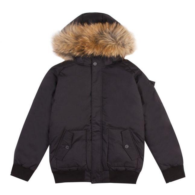 Boys Black Jami Fur Hooded Bomber Jacket