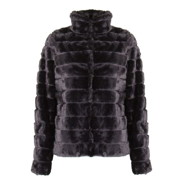 Womens Black Vifarry Faux Fur Jacket