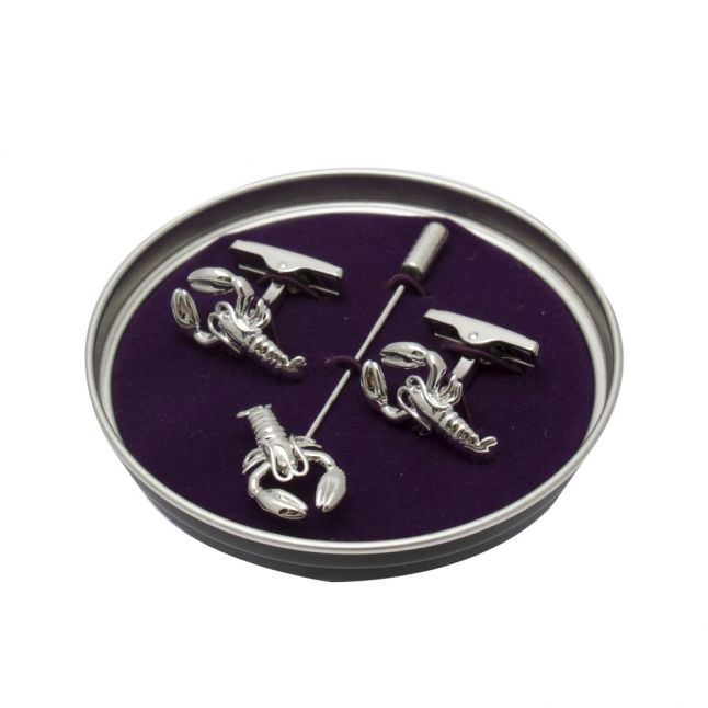 Mens Silver Shelfie Cufflinks & Tie Pin Set