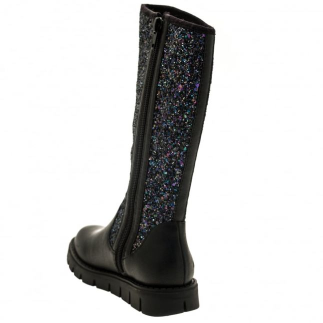 Girls Black Glitter Glamour Alto Boots (28-37)