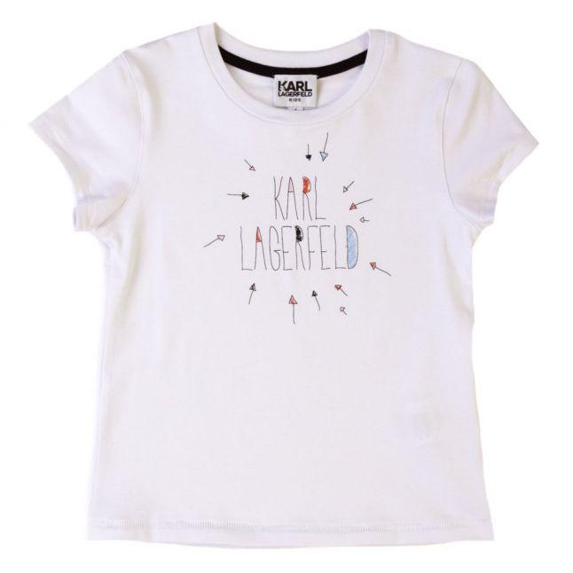 Girls White Printed S/s Tee Shirt