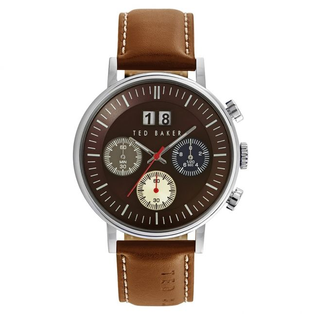 Mens Brown Dial Chrono Leather Strap Watch
