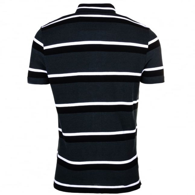 Mens Black Striped S/s Polo Shirt
