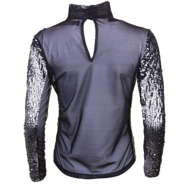 Womens Black & Silver Sequin Spirit Top