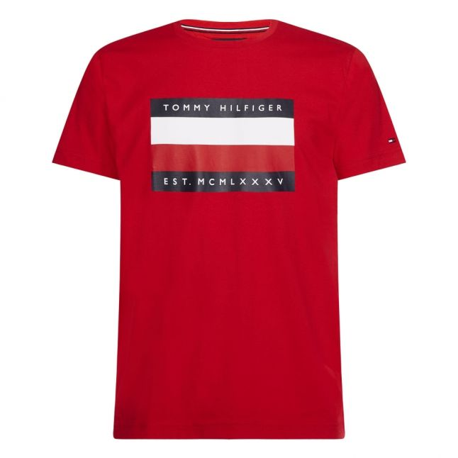 Mens Primary Red Corp Logo Stripe S/s T Shirt