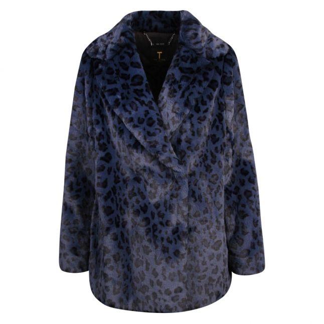 Womens Dark Blue Zenaida Leopard Faux Fur Jacket