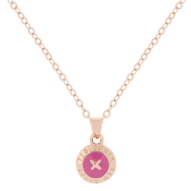 Womens Rose Gold & Mid Pink Elvina Pendant Necklace