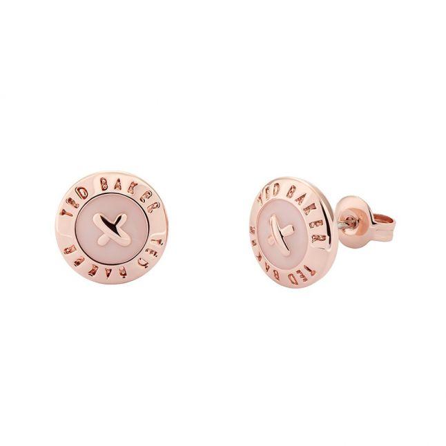 Womens Rose Gold/Baby Pink Eisley Enamel Mini Button Earrings