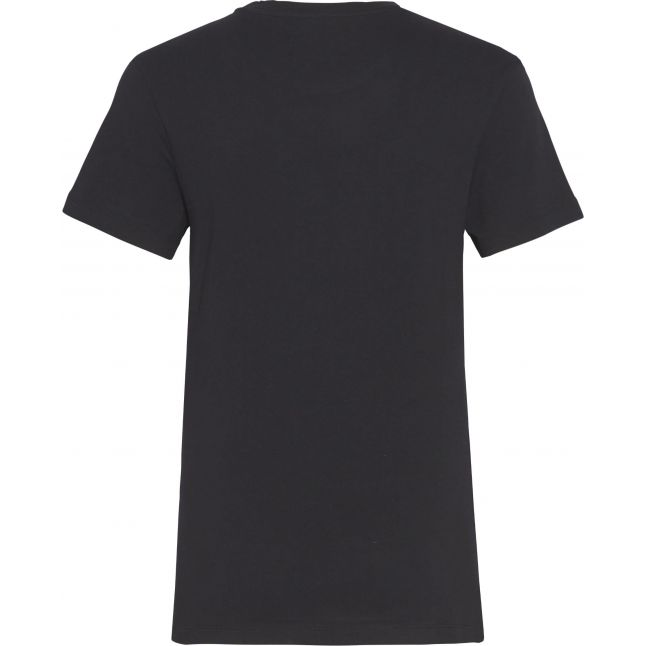Womens Black Monogram Logo Regular Fit S/s T Shirt