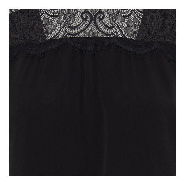 Womens Black Crepe Light Lace Top