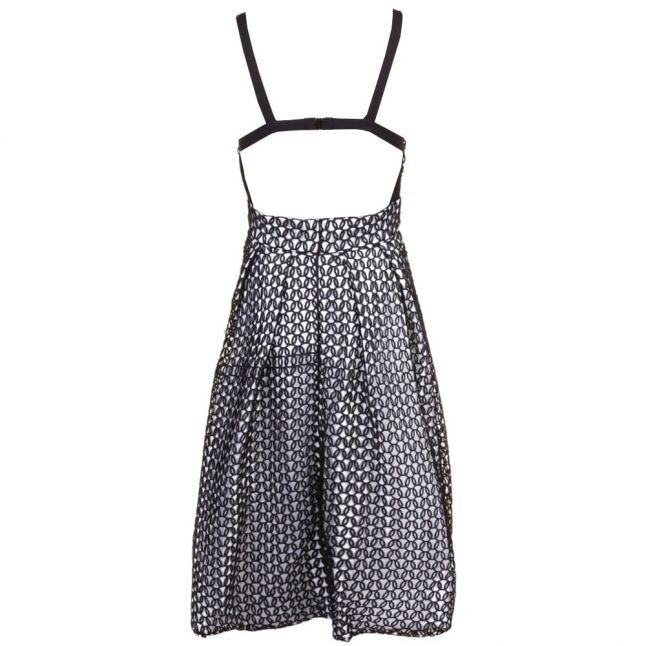 Womens Black & Ivory Pentagon Full Skirt Dress