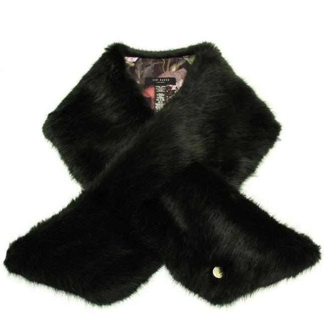 Womens Dark Green Tesha Faux Fur Long Scarf