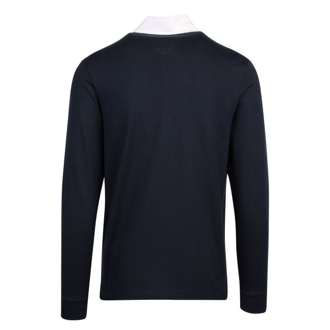 Mens Navy Rugby Collar L/s Polo Shirt