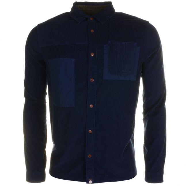 Mens Navy Baslow Corduroy L/s Shirt