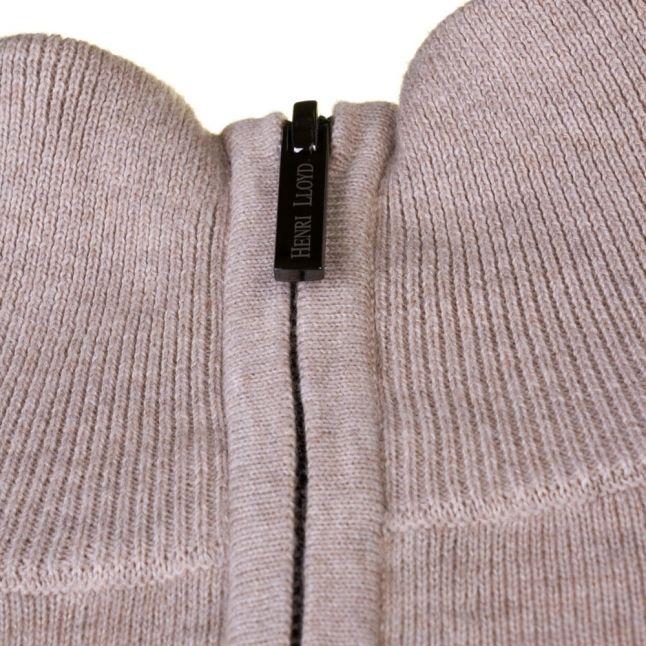 Mens Driftwood Moray Regular Fit Half Zip Knitted Jumper