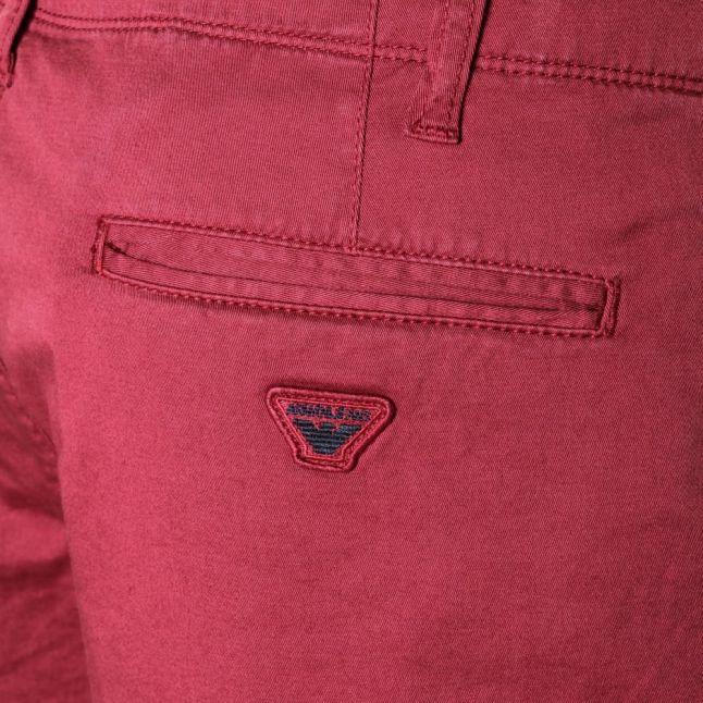 Mens Dark Red Chino Shorts