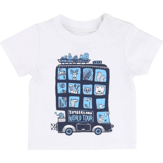 Boys White Bus Printed S/s Tee Shirt