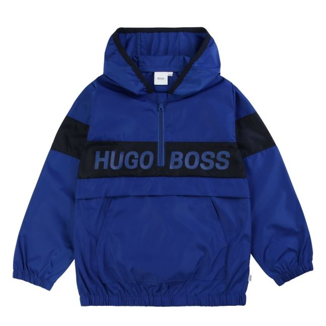 Boys Wave Blue Branded Overhead Packaway Jacket
