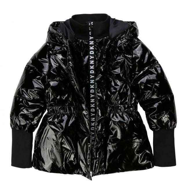 Girls Black Vinyl Look Padded Hooded Jacket