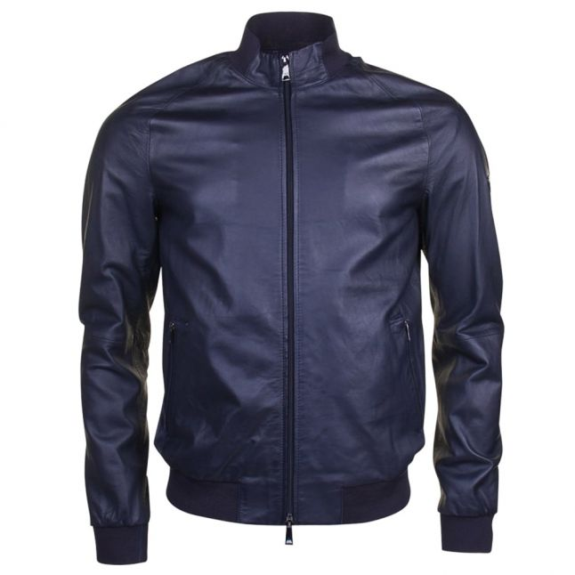 Mens Blue Leather Slim Fit Jacket