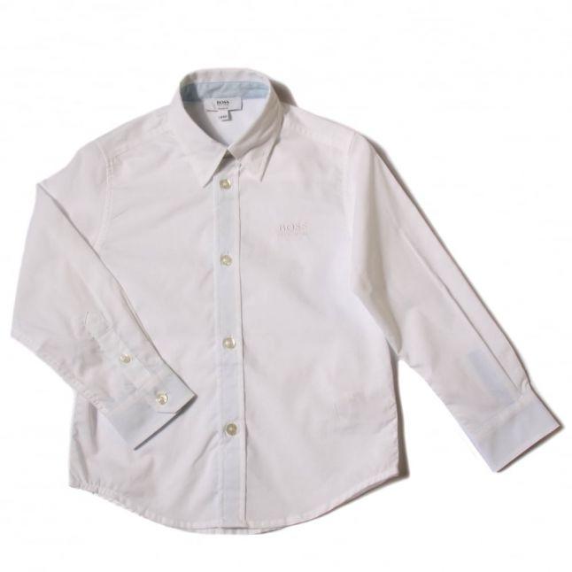 Boys White Branded L/s Shirt