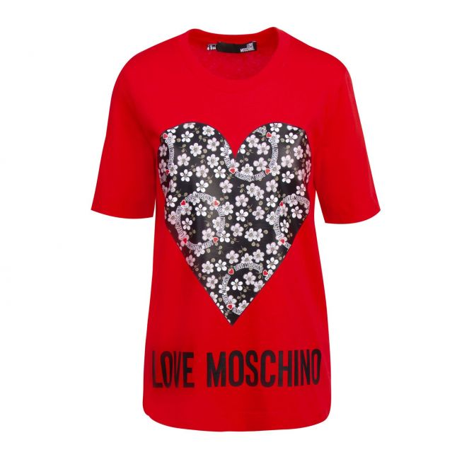 Womens Red Ditsy Heart S/s T Shirt