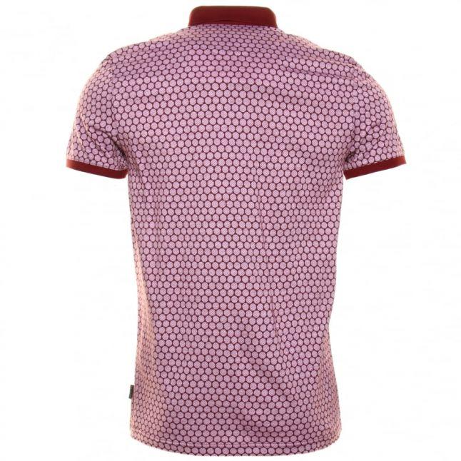 Mens Red Runapp Herringbone Spot S/s Polo Shirt