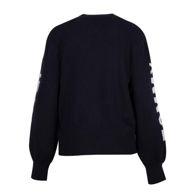 Womens Black Iris Logo Sleeve Knitted Jumper