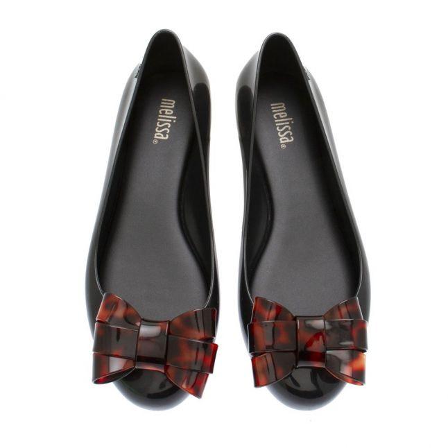 Womens Black Tortoise Sweet Love Ballet Bow Shoes