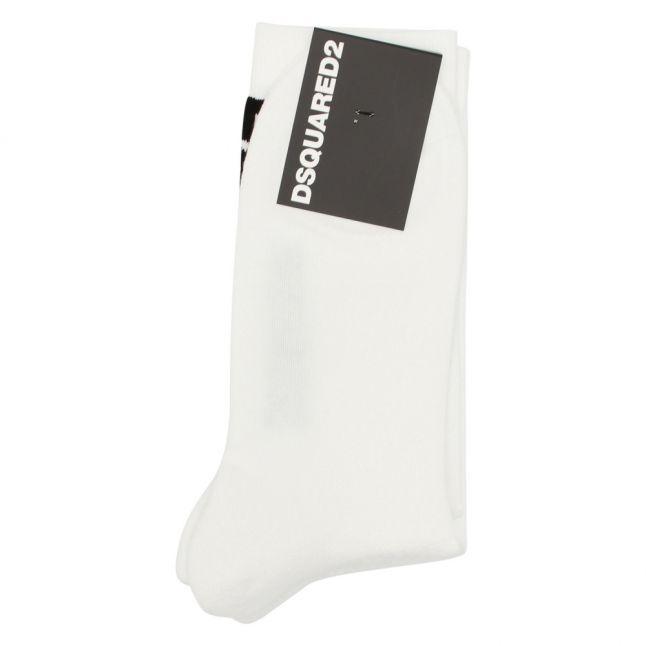 Mens White Vertical Logo Socks
