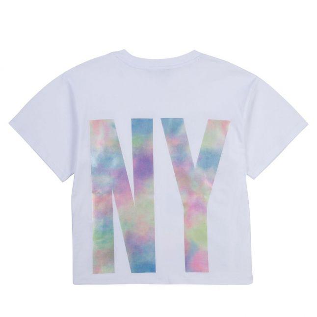 Girls White Maxi Fit Cloudy Logo S/s T Shirt