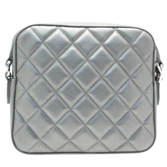 Womens Silver Heart Quilted Cross Body Bag