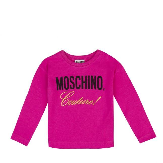 Girls Fuchsia Couture Logo L/s T Shirt