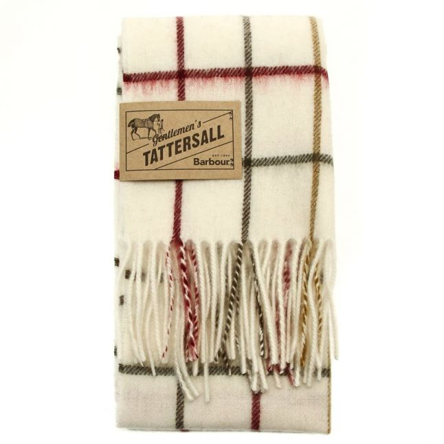 Lifestyle Womens Cream & Red Tattersall Lambswool Scarf