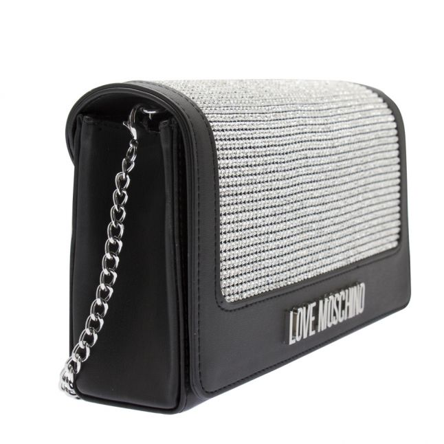 Womens Black/Silver Sparkle Mesh Crossbody Bag